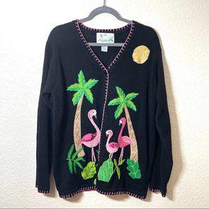 Vintage Quacker Factory Flamingo Cardigan Sweater